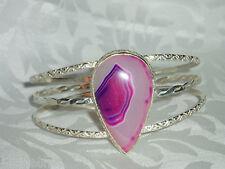 Pretty New 925 Over Lay Silver, Bangle Bracelet, Pink Botswana Stone
