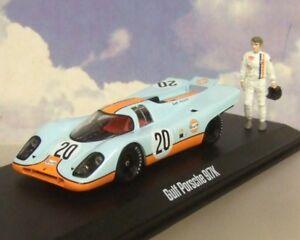 1/43 GREENLIGHT GULF PORSCHE 917K #20  LE MANS MOVIE WITH STEVE MCQUEEN FIGURE