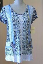 NEW LUCKY BRAND WOM XL Scarf Linen Tee SHIRT BLOUSE BLUE  SHORT SL SUM  TINIC IV