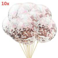 "10pcs 12"" Confetti Latex Balloons Rose Gold Helium Birthday Wedding Hen Party UK"