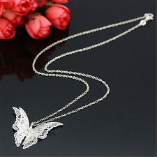 3D Schmetterling Butterfly Silber pl. Halskette Collier Flügel Kette Anhänger