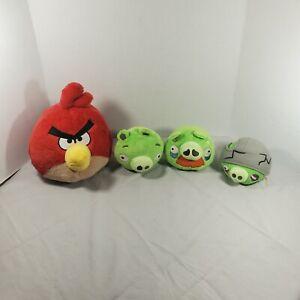 Angry Birds Lot 4 Plush Grandpa Mustache, Green Pig, Cracked Helmet Pig. Redbird