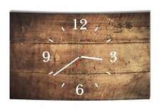 LAUTLOSE Designer Wanduhr Holz Optik braun bretter rustikal modern Dekoschild Ab