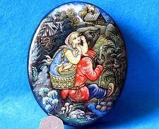 Russian LACQUER jewellery Box Fairy tale Masha and the Bear Kholui BELOVA signed