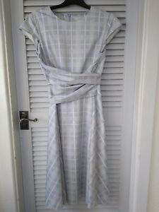 Beautiful Hobbs Twitchell Dress 14 vgc Grey/Blue and white check