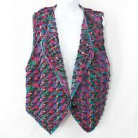 Vintage Maralyce Ferree Madras Plaid Vest Colorful 80s Womens Medium M 0213X