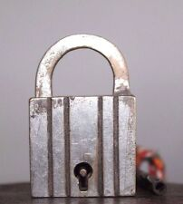 1920's Antique Vintage Beautiful Shape ALIGARH Brass Pad lock