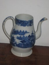 ENGLISH pearlware blue & white coffee pot circ around 1800S NO LID
