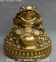 """13"""" Chinese Bronze Fengshui Golden Toad Spittor Coin Yaunbao Wealth Money Statue"""