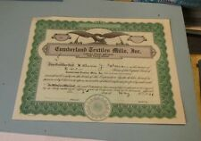 1936 Cumberland Textiles Mills Incorporated Stock Certificate Maryland Business