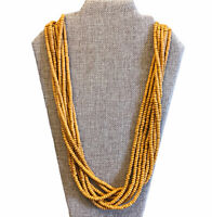 Mustard Yellow Dyed Artificial Coral Vintage Bead And Wood Necklace