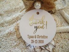 10 White Gift Tags Wedding Favour Bomboniere Personalised Gold Foil Thank You