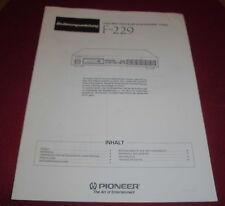 Mode d'emploi livret pioneer F 229 FM/MW numérique synthétiseur tuner 1991