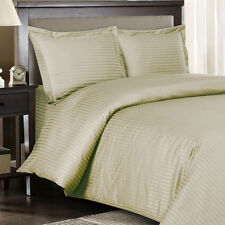 1500 Thread Count 100% Egyptian Cotton Bed Sheet Set 1500 TC KING Beige Stripe