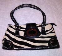 Zebra Print Shoulder Bag Medium Purse Buckle Snap