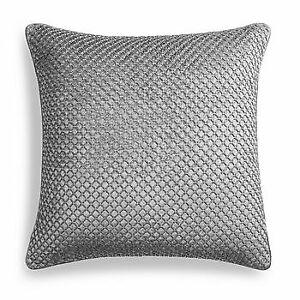 "Hudson Park Collection Velvet Geometric Beaded 20"" x 20"" Decorative Pillow  Gray"