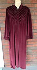 Vintage Maroon Velour Robe Creations Mode-Elle Gorgeous Full Length Housecoat