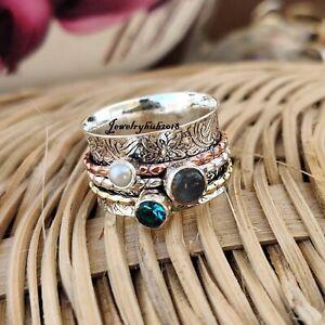 Pearl Spinner Ring 925 Sterling Silver Ring Handmade & Meditation Ring Pray10
