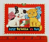 Vintage 1935 Just Between Us Two Dog Cat Bows Flip Up Calendar Diecut Card