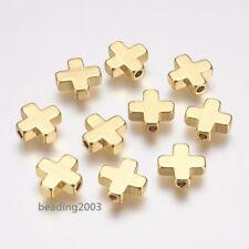 10pcs Brass Cross Spacer Jewlellery Beads DIY Craft Charms Golden 9x9x3mm