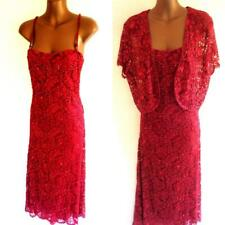 Phase Eight 16 - Beautiful deep red lace sequin embellished  dress & shrug (5779