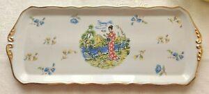 Ancien plat à cake ou gateau en porcelaine EMAUX LIMOGES décor geisha et or