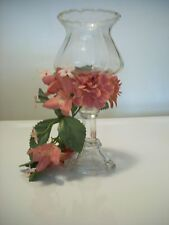 Taper & Votive Candle Holder Clear Glass Pink Flower Wrap Dual Candleholder