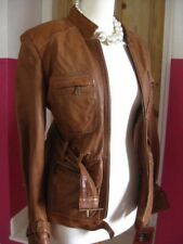 Ladies NEXT tan leather JACKET COAT size UK 8 retro distressed belt safari biker
