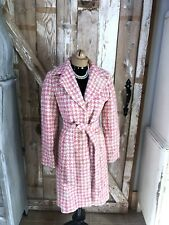 Bebe Pink Wool Blend Coat Jacket Belted Snap Double Breasted Lined Houndstooth