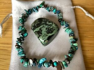 Chrysocolla Crystal Bracelet & Kambaba Jasper Tumblestone In Satin Bag.Healing