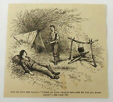 small 1880 magazine engraving ~ HOW WE SHOT THE FALLS, Charlie is all right...