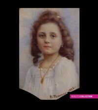 ANTIQUE ORIGINAL 1926 FRENCH MINIATURE PAINTING WATERCOLOR Portrait of a girl