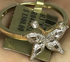 10k SOLID REAL GOLD Butterfly NATURAL DIAMOND RING .36 Ct Yellow  7 5 6 8 9