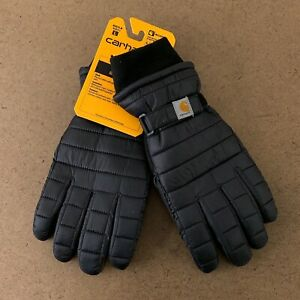 Carhartt Adult Size Large Black Waterproof Quilted Insulated Gloves NWT