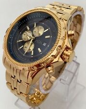 Mens Watch Luxury Gold Strap Blue Dial Date Dressy Smart Designer Classic Posh