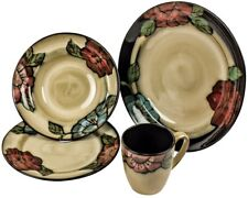 Country Flower Design Vintage Style Glazed Stoneware 16 Piece  Dining Set
