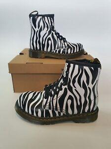 Dr Martens DELANEY Black White Backhand Leather Kids 10 11 11.5 13 Zebra Boots