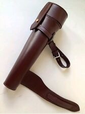 NEW SADDLE HIP FLASK STEEL & HANDMADE THICK LEATHER CASE BATON FOX HUNTING FLASK