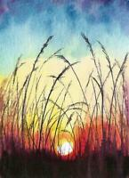 ACEO sunset field landscape original watercolor painting art card signed