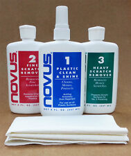 Novus Plastic Polish set includes 237ml Novus 1, 2 & 3 bottles plus 3 cloths