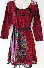 New Desigual Ladies Dress'YOLANDA'Full Sleeve,RED,Size L