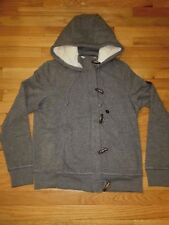 NWT Hollister by Abercrombie Sherpa Lined Toggle Zip Hoodie Sweatshirt L Gray