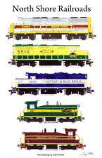 "North Shore Railroads Locomotives 11""x17"" Railroad Poster Andy Fletcher signed"
