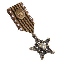 Vintage Badge Brooch Pin Star Shape Medal Ribbon Costume Party Dress Gifts