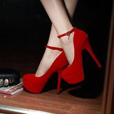 Ladies Womens Ankle Straps Platform High Heel Wedding Pumps Shoes UK 1-8 D190
