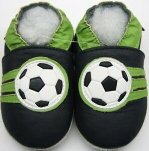 minishoezoo soft sole leather baby shoes Soccer navy 4-5 years free shipping