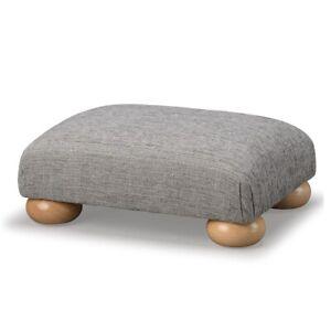 Biagi Upholstery & Design Nickel Grey Low Footstool with Wood Bun Feet