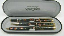 Monograph Writing Instruments 3Pc 2 Pens 1 Mechanical Pencil Floral Design& Case