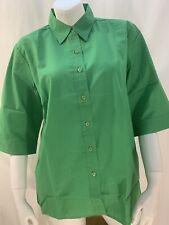 New Haband Womens Medium Green Button Down 3/4 Sleeve Blouse Shirt Top