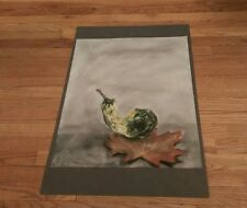 vintage color sketch of a gourd sitting on top of a leaf Fall Autumn seasonal